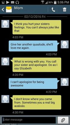 Liz Hammett, 36, a mom-of-one from Ohio, is an evil genius when it comes to tormenting her mother - and her album of hilarious text messages have been loved by thousands.