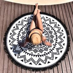 "Black Mana Beach Towel Printed velour %100 cotton beach towel with polyester fringes. Measures:r: 59"" / 150 CM"