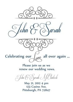 Invite For Anniversary Party Or Vow Renewal Ceremony