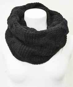 Black Alternating Cable Knit Infinity Scarf #zulily #zulilyfinds