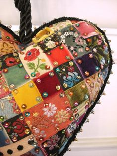 patchwork heart - this isn't sewn; just uses pins (with glue) to hold down pieces of ribbon