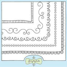 square doodle black border frames size doodled borders clip art digital download 400