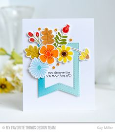 Handmade card from Kay Miller featuring Stitched Fishtail Frames Die-namics.