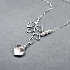 Calla Lily and Branch Necklace  'Grace'  Sterling by RoseAndRaven, $28.50