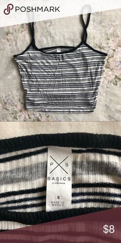 ece5461858 Pacsun Striped Crop Cami A soft striped cami from Pacsun! Grey/black/white