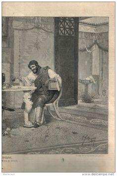 """Beim Würfelspiel - Druck, entnommen  aus """"die Gartenlaube"""", 1897"""