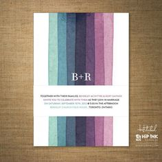 Having a modern wedding? This purple and blue stripe ombré wedding invitation designed by Hip Ink Paper Co. would be perfect!