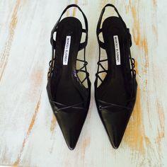 Black Leather Manolo Blahnik Woven Cut Out Heel // Point Toe + Size 8 // 38.5 by ShopKingDude on Etsy
