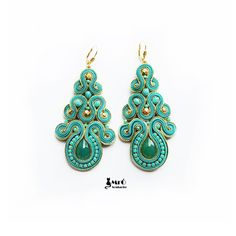 Turquoise and gold- large beautiful earrings soutache ! Small Earrings, Unique Earrings, Beautiful Earrings, Soutache Earrings, Crochet Earrings, Gemstone Jewelry, Beaded Jewelry, Diy Rings, Ring Necklace