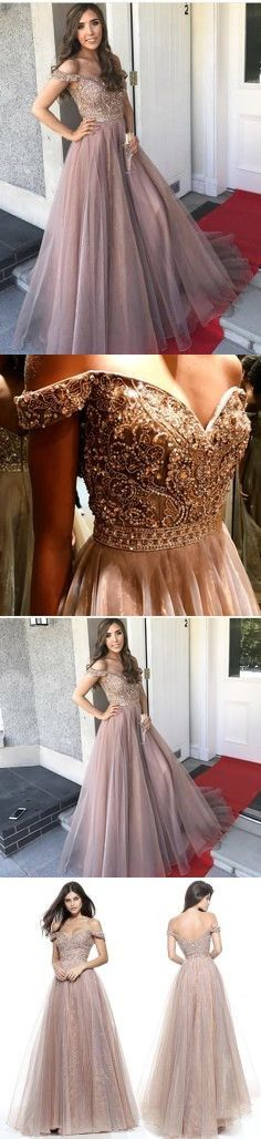 Gorgeous Prom Dresses,Off the Shoulder Prom Gown,Brown Prom Dresses,Long Prom Dress,Beading Prom Dress M1254#prom #promdress #promdresses #longpromdress #promgowns #promgown #2018style #newfashion #newstyles #2018newprom #eveninggown #offshoulder #brownpromdress #beadingpromgown