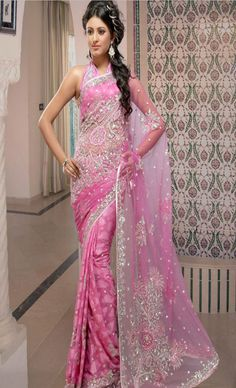 Princess #Pink Faux Shimmer #Georgette #Saree with #Blouse @ $107.69 | Shop @ http://www.utsavfashion.com/store/sarees-large.aspx?icode=slspp97