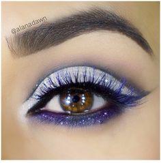 Purple eye makeup #eyes #eye #makeup #bright #bold #glitter #dramatic