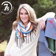 The Barstow Scarf – Savannah Sevens Western Chic - Ivory and blue serape infinity scarf with leather fringe.