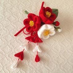 Kanzashi Flowers, Felt Flowers, Crochet Flowers, Fabric Flowers, Necklace Tutorial, Ribbon Hair, Fabric Jewelry, Japan Fashion, Japanese Culture