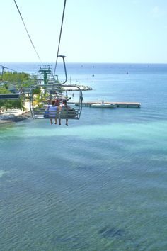 Roatan Honduras, ski lift to the beach... If we have time after zip lining, I would like to ride this.