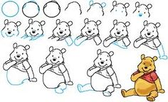 step by step how to draw Winnie the Pooh.   ( very helpful)