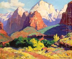 Pinnacle Rock, Zion National Park in Utah 1928 Franz Bischoff | Oil Painting Reproduction | 1st-Art-Gallery.com