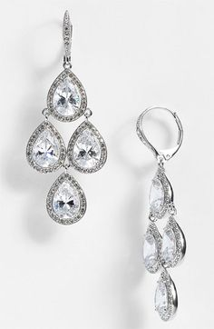 Gorgeous fashionable earrings for a bride.  Nadri Cubic Zirconia Chandelier Earrings (Nordstrom Exclusive) available at Nordstrom