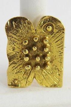 Vintage Jewelry Modernist Brutalist Artisan Signed Gold Wash Brooch Pendant | eBay