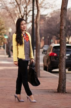 cute & little blog | stripes & checks | yellow sheinside blazer, checked grid top, striped pumps, orange flower necklace outfit | Flickr - Photo Sharing!
