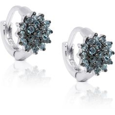 Dolce Giavonna Sterling Silver London Blue Topaz Flower Earrings ($31) ❤ liked on Polyvore featuring jewelry, earrings, blue, london blue topaz earrings, bow earrings, long earrings, sparkly earrings and flower earrings