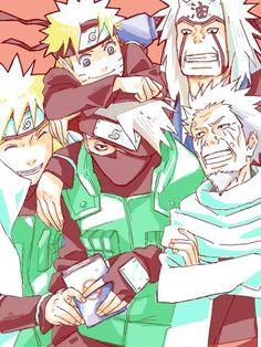 Naruto: Top left to bottom right: Naruto, Jiraiya, Minato, Kakashi,& Hiruzen Sarutobi