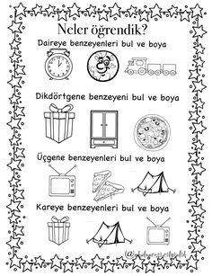 Şekiller K 1, Montessori, Coloring Pages, Activities For Kids, Preschool, Bullet Journal, Education, Math, Quote Coloring Pages