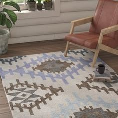 Union Rustic Lococo Hand-Tufted Wool Royal Blue/Beige Area Rug Rug Size: Runner x Neutral Colour Palette, How To Distress Wood, Outdoor Area Rugs, Rug Making, Warm Colors, Beige Area Rugs, Colorful Rugs, Rug Size, Rustic