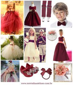 Inspiração Marsala para daminhas e pajens #marsala #daminhas #pajens #flowergirl #ringbearer #casamento #wedding #pantone #cordoano #2015 #noivinhasdeluxo