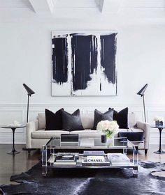 Living in an apartment, or in an older home with tiny rooms, can present a challenge: how to make your limited space seem larger. Try these 80 Stunning Modern Apartment Living Room Decor Ideas And Remodel. Living Room Designs, Living Room Decor, Living Rooms, Cow Hide Rug Living Room, Living Spaces, Black And White Living Room, White Rooms, Black White Decor, White Bedroom