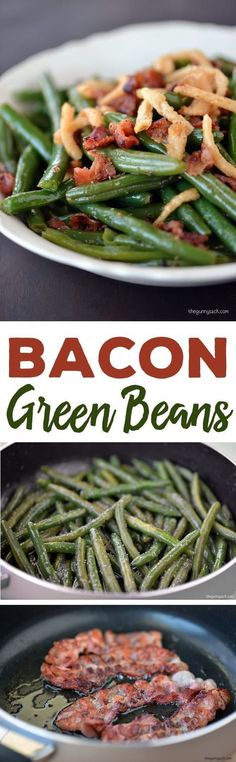 Bacon Green Beans Recipe: Green beans are always part of a traditional holiday dinner, but when bacon and French fried onions are added, the green beans become a showcase dish. Sponsored by Farberware #bacon #sidedish