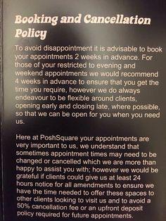 Cancellation policy wording. ideas