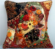 "Cathy Kizerian's Autumn's Glory Cushion  When this enty came in, we were all in awe. I don't know when I've seen a piece that fairly shouted with so much pure joy! In Cathy's words: The cushion was one of the most fun projects I've ever done. I absolutely love Autumn, and the fabrics and fibers you chose really ""spoke"" to me. This was truly a labor of love!! We can SEE that! Luckily for all of us, Cathy sent in lots of pictures, so you'll be able to see for yourself all the glorious details…"