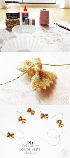 DIY Bow-tie pasta garland I really dislike pasta kids crafts but this is too cute. Easy Christmas Ornaments, Noel Christmas, Simple Christmas, Xmas, Christmas Makeup, Christmas Pasta, Christmas Ideas, Christmas Projects, Christmas Decorations