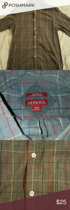 Merona tailored fit men's dress shirt Gray and red plaid dress shirt. Size Medium in Target's Merona brand. Still looks new even though it's fairly loved.  My fiance hulked out and can no longer fit his dress shirts. Merona Shirts Dress Shirts