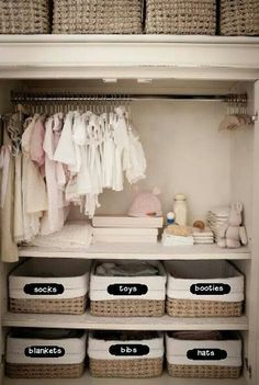 Shelves built in the closet instead of buying a dresser? Cheaper and space saving!