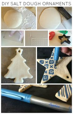 Easy and Cheap Salt Dough Ornament Ideas for Holiday Moments 6 Clay Christmas Decorations, Diy Christmas Ornaments, Christmas Projects, Holiday Crafts, Holiday Ideas, Noel Christmas, Homemade Christmas, Salt Dough Crafts, Salt Dough Ornaments Recipe No Bake