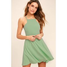 Lulus  Call to Charms Sage Green Skater Dress ($58) ❤ liked on Polyvore featuring dresses, green, knee length flared skirts, flared dresses, skater dresses, green skater dress and flare dresses