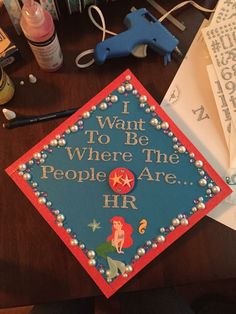 Little mermaid human resources graduation cap