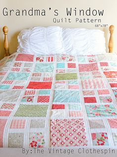 Grandma's Window Quilt Pattern / PDF on Etsy from the Vintage Clothespin  Would be fun I Spy quilt