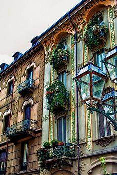 Balconies, Turin, Italy
