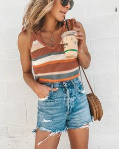 A round up of some of my favorite recent looks! Summertime Outfits, Simple Summer Outfits, Summer Shorts Outfits, Summer Outfits For Teens, Cute Casual Outfits, Cute Beach Outfits, Easy Outfits, Teen Summer, Fashionable Outfits