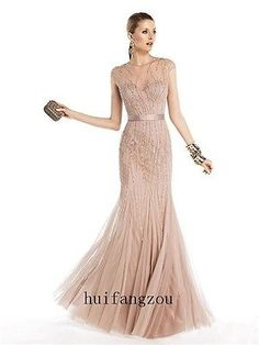 2014 Elegant Champagne Long Evening Pageant Formal Dress Gown Custom Sheath Bead