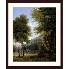 Global Gallery 'Idyllic Landscape (Paysage Idyllique)' by Francois Edouard Bertin Framed Painting Print Size: