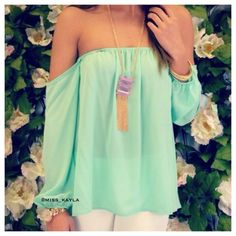 Off-Shoulder Chiffon Top Brand new. Cute and trendy off shoulder chiffon top. Tops