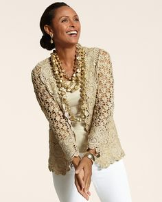 Outstanding Crochet: Glam Crochet Cardigan from Chico's.