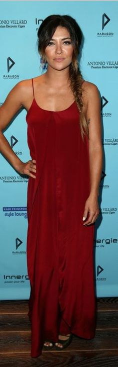 Who made Jessica Szohr's red maxi dress that she wore in Los Angeles on August 22, 2014