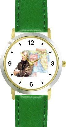 Andrew Jackson (Old Hickory) - 7th US President - WATCHBUDDY® DELUXE TWO-TONE THEME WATCH - Arabic Numbers - Green Leather Strap-Size-Children's Size-Small ( Boy's Size & Girl's Size ) WatchBuddy. $49.95