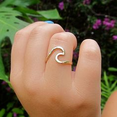 Gold Wave Ring, Surf, Ocean, Hawaii Beach Jewelry, Surfer Girl, Gift for Her, Hammered, Handmade, Summer Fashion