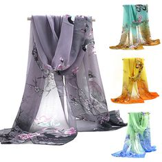Fashion Women Chiffon Floral Printed Designer Scarf Autumn Gradient Plaid Flower Casual Silk Scarves Long Wrap Pashmina-in Scarves from Women's Clothing & Accessories on Aliexpress.com | Alibaba Group